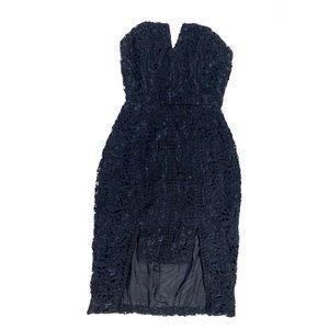 Ellery Designer Dress Black Crotchet Overlay SZ 4